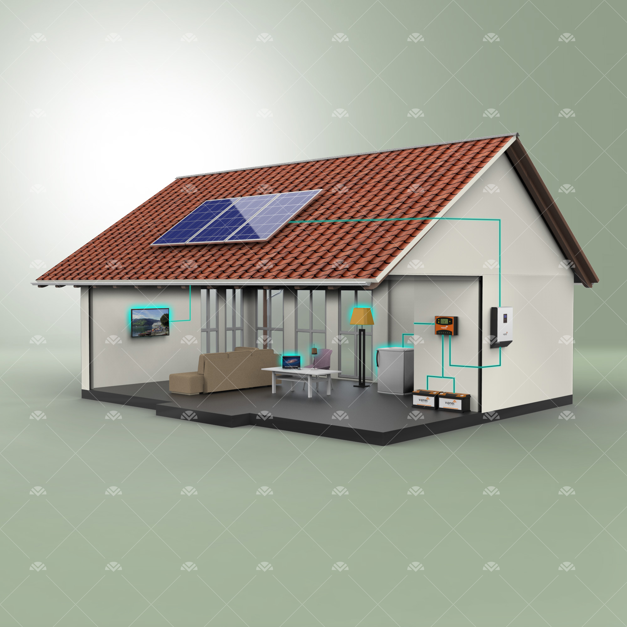 Solar Paket 1 - lamba, tv, mini buzdolabı, şarj cihazı