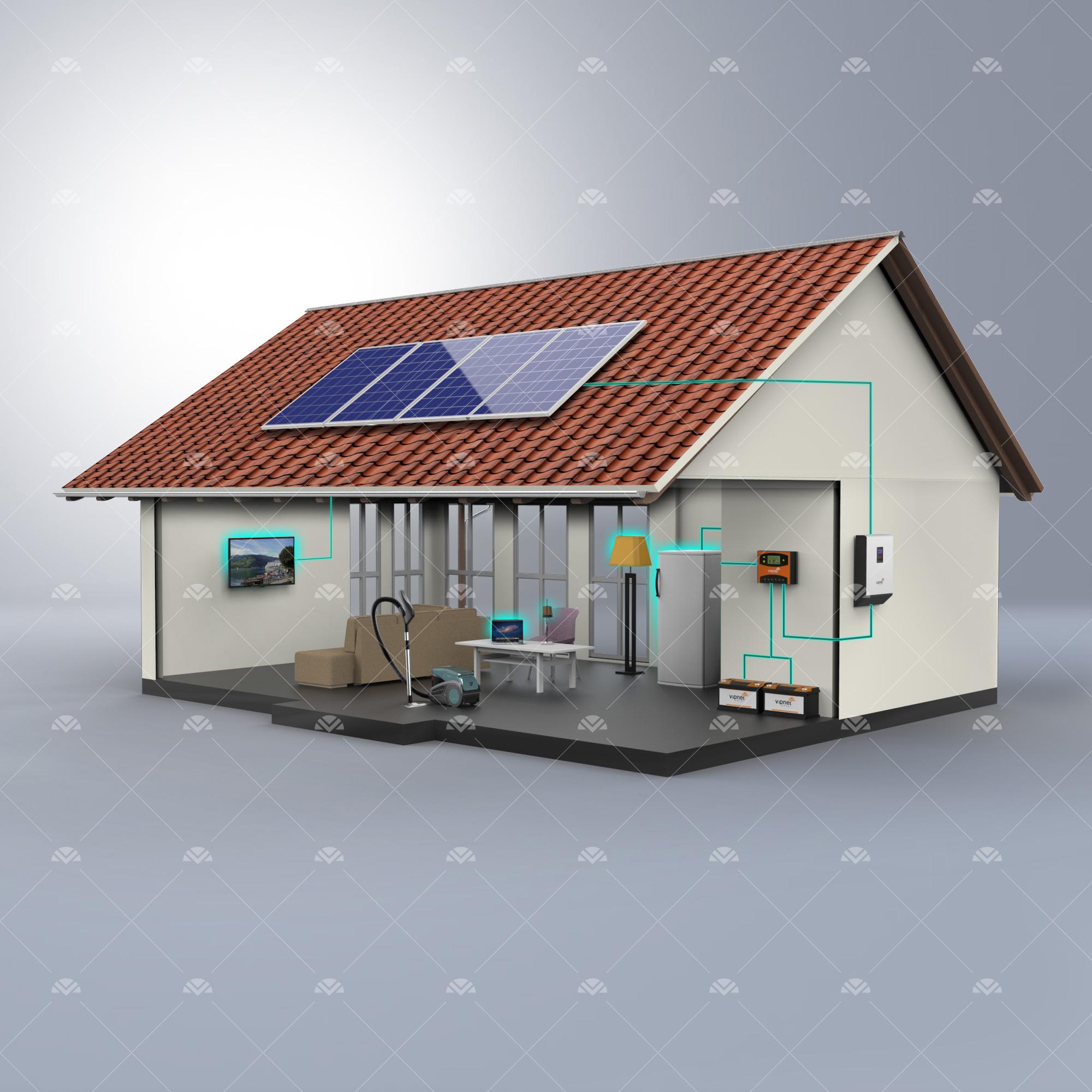 Solar Paket 2-lamba, tv, orta boy buzdolabı, şarj cihazı, süpürge