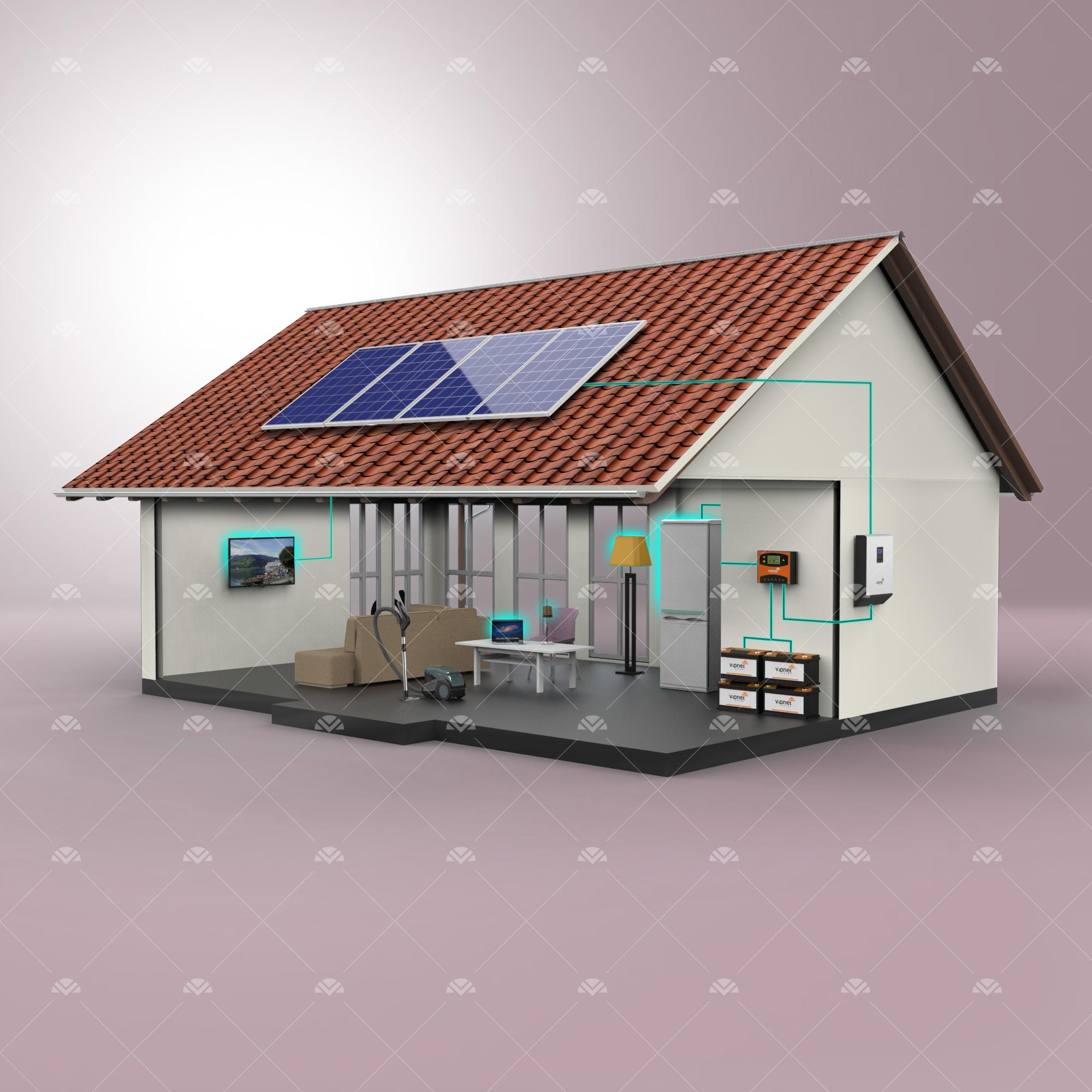 Solar Paket 3-lamba, tv, büyük buzdolabı, şarj cihazı, süpürge