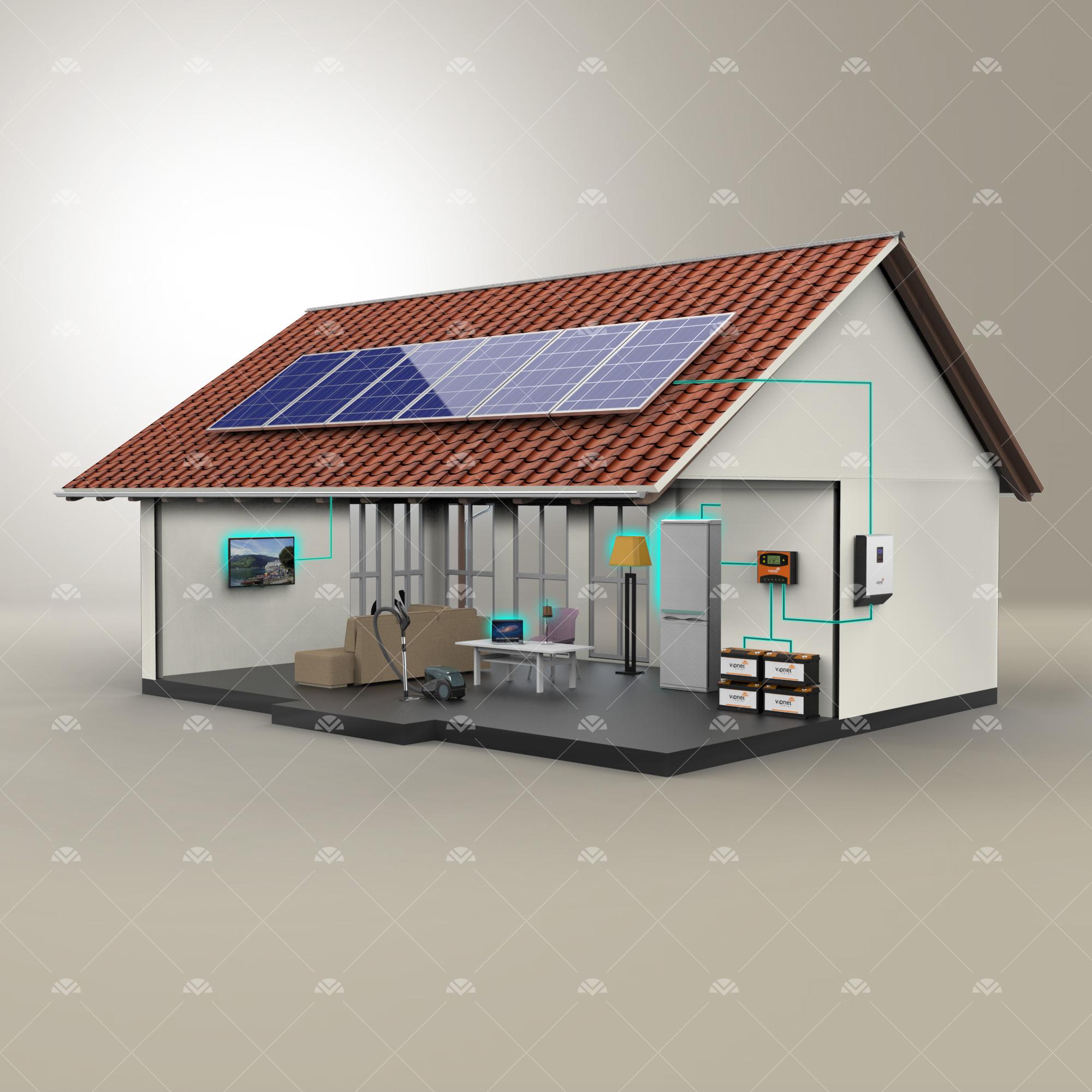 Solar Paket 4-lambalar, tv, büyük buzdolabı, şarj cihazı, ev aletleri, süpürge